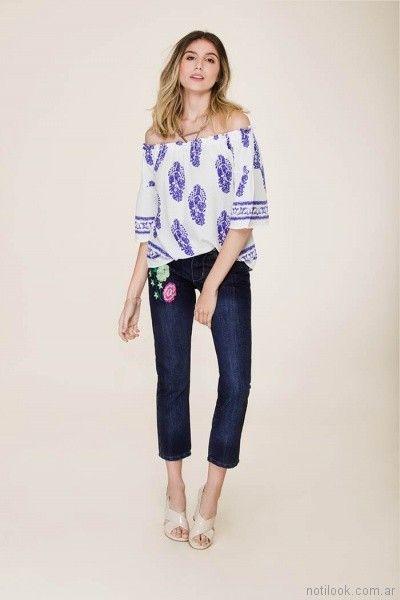 capri de jeans con bordado tibetano store primavera verano 2018