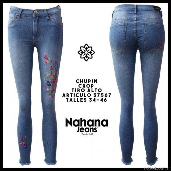 chupin con bordados florales Nahana jeans verano 2018