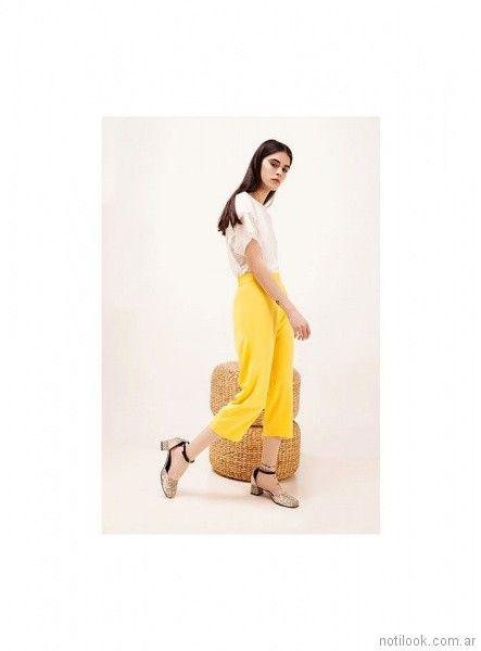crop pant amarillo de vestir mujer verano 2018 - Naima