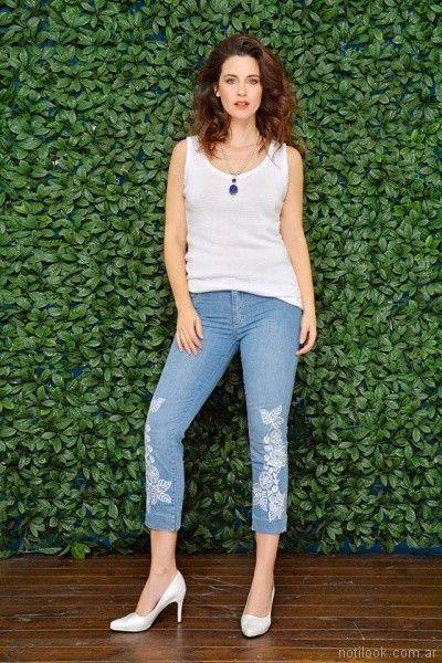 crop pant bordado para señoras moravia Jeans primavera verano 2018