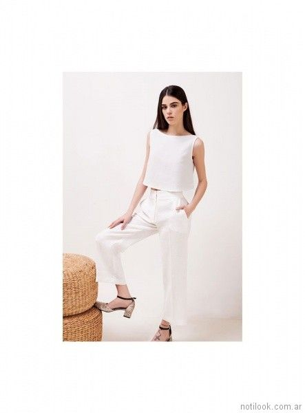 crop pants blanco verano 2018 - Naima