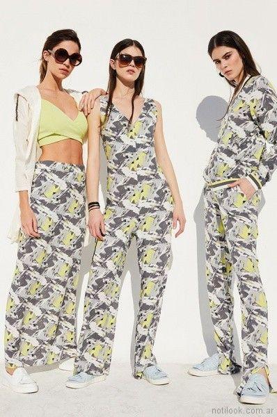 falda larga y pantalon estampado Rie Verano 2018