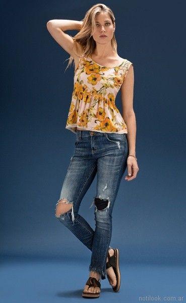 jeans con roturas cuesta blanca verano 2018