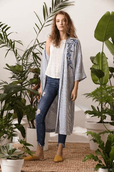 kimono a rayas System basic primavera verano 2018