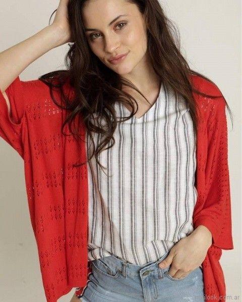 kimono tejido y remera a raya verano 2018 - Kevingston Mujer