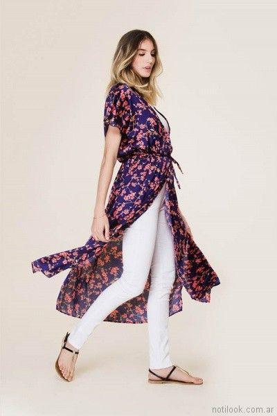 kimonos estampados mangas cortas tibetano store primavera verano 2018