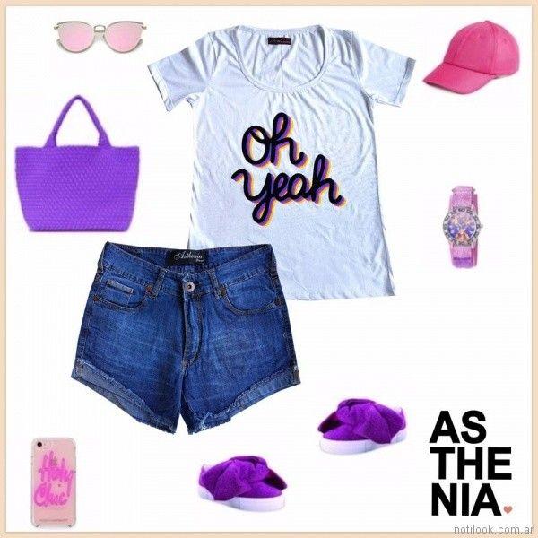 look casual con short de jeans Asthenia verano 2018
