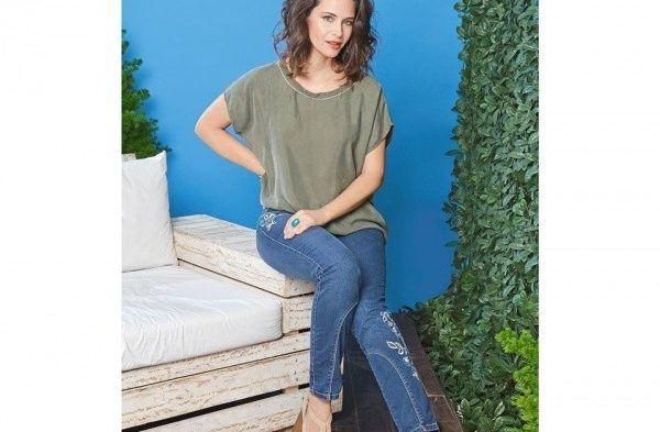 look casual para señoras con pantalon con recorte moravia Jeans bordado primavera verano 2018