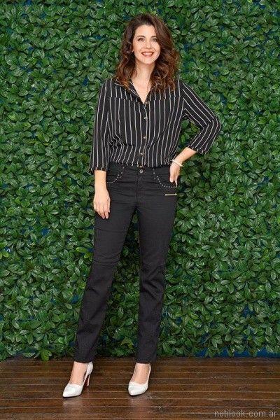 look con jeans negro recto para señoras moravia Jeans bordado primavera verano 2018