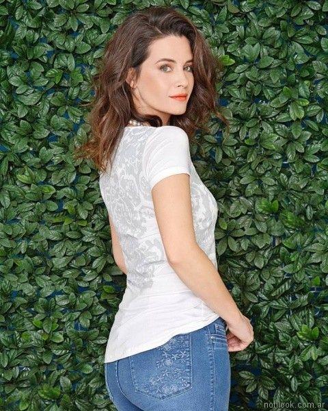 moravia Jeans bordado en bolsillo trasero primavera verano 2018