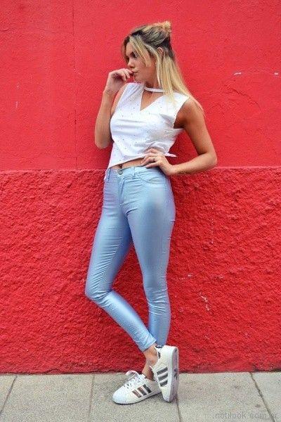 pantalon engomado y top casual blanco Dorcastar verano 2018