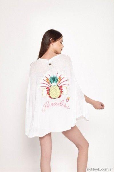 poncho de hilo bordado primavera verano 2018 - Millie Tejidos