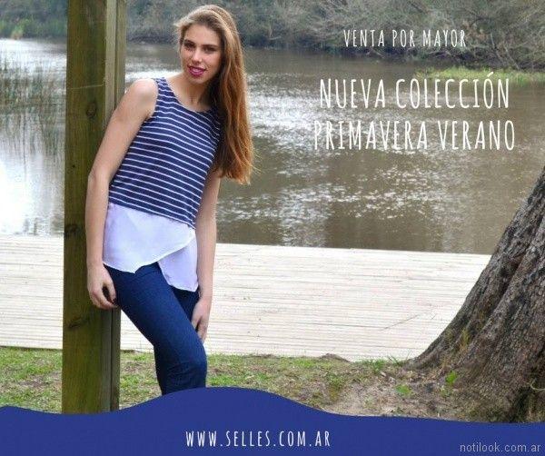 remera a rayas para señoras Selles Moda Mujer primavera verano 2018