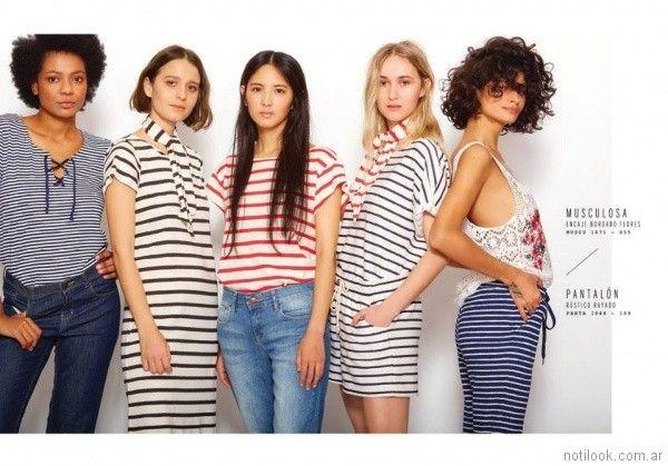remeras vestidos y pantalones a rayas VER mujeres apasionadas verano 2018