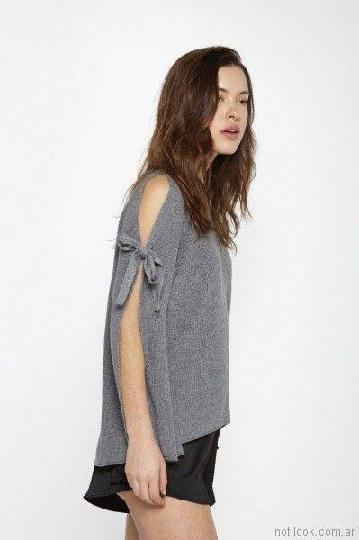 sweater con mangas con tajo primavera verano 2018 - Millie Tejidos