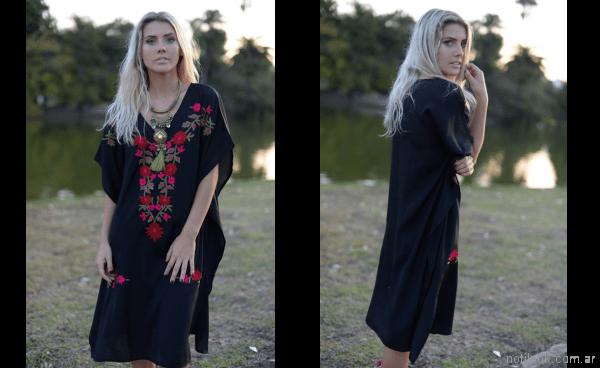 tunica negra bordada para playa verano 2018 - Vars moda