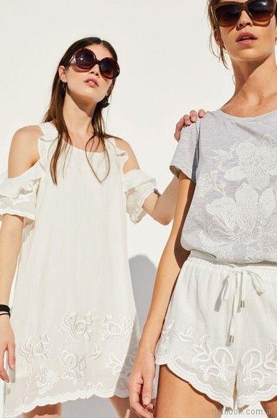 vestido blanco y short bordado Rie Verano 2018
