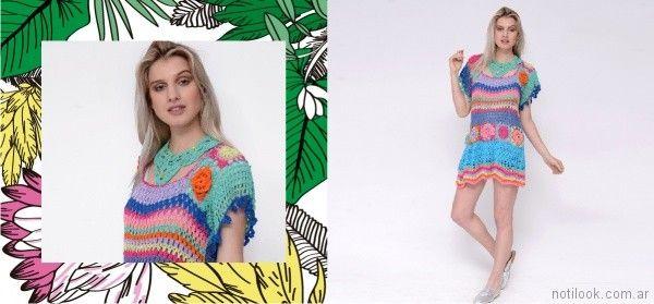 vestido corto a crochet Oma primavera verano 2018