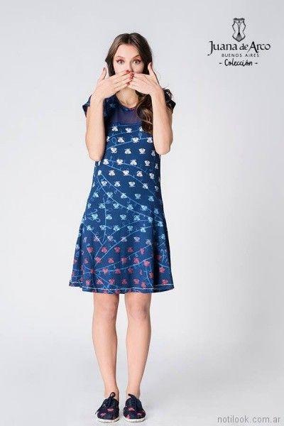 vestido corto informal azul estampado verano 2018 - juana de arco