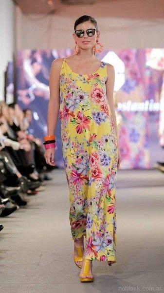 vestido largo estampado para el dia para señoras adriana costantini verano 2018