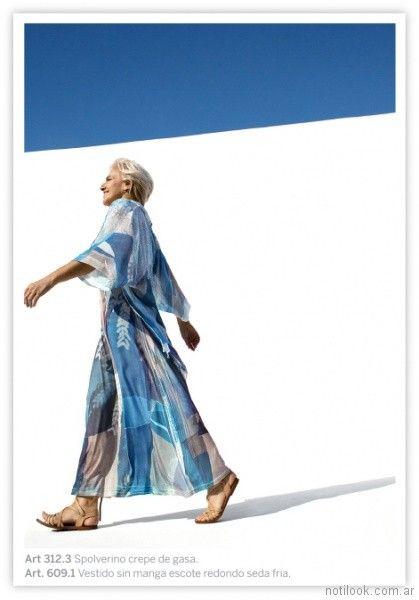 vestido largo mangas largas seda fria estampado informal Exordio verano 2018