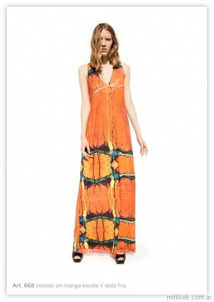 vestido largo naranja informal exordio primavera verano 2018