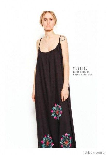 vestido rayon bordado largo VER mujeres apasionadas verano 2018