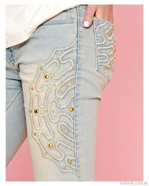 Mov jeans chupin celeste bordado con tachas primavera verano 2018