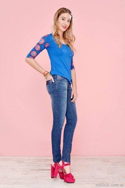 Mov jeans chupin con tachas y lentejuelas primavera verano 2018