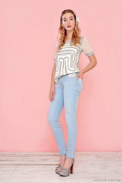 Mov jeans chupines con detalles en encaje primavera verano 2018