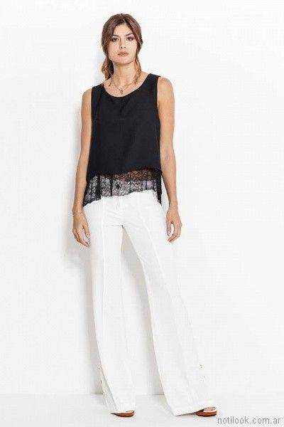 31f9595412456 blusa de seda con guarda de microtul bordado y pantalon de vestir blanco  Activity Pret a Porter primavera verano 2018