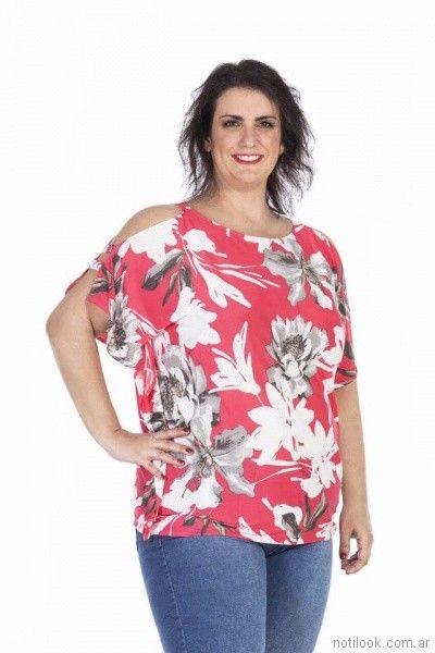 blusa de seda fria estampada con hombros descubiertos Loren Talles grandes primavera verano 2018