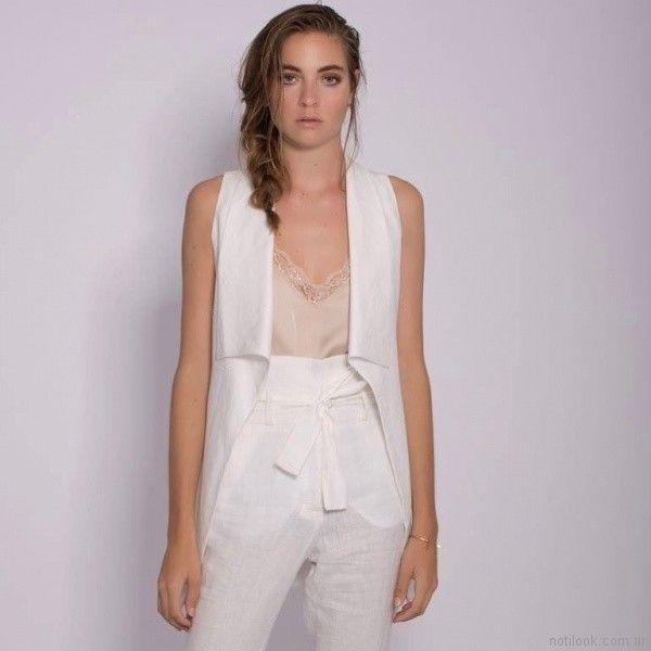 blusa lencera de seda y puntilla Mancini primavera verano 2018
