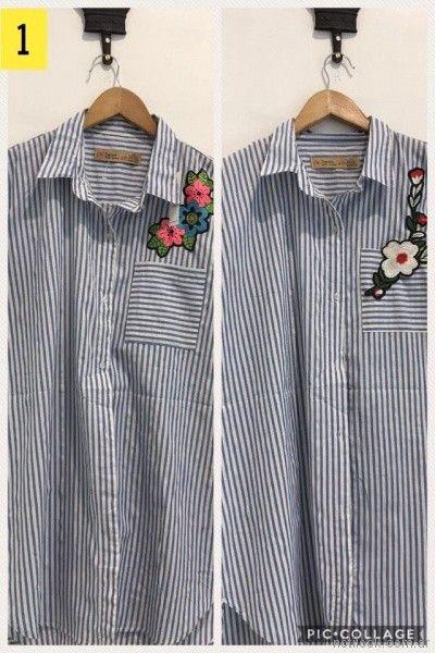 camisa a rayas con aplique bordado Loren Talles grandes primavera verano 2018