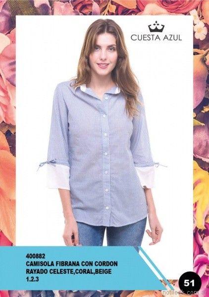 camisa a rayas con mangas tres cuartos Cuesta Azul primavera verano 2018
