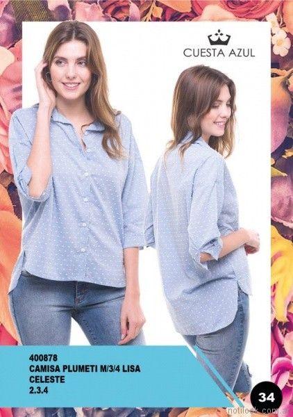 camisa asimetrica con puntos Cuesta Azul primavera verano 2018