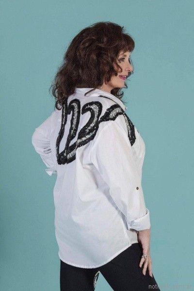 camisa blanca bordada con lentejuelas Loren Talles grandes primavera verano 2018