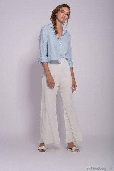 camisa corta celeste mujer Mancini primavera verano 2018