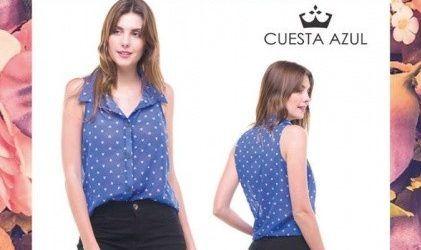 camisa de gasa con puntos musculosa Cuesta Azul primavera verano 2018