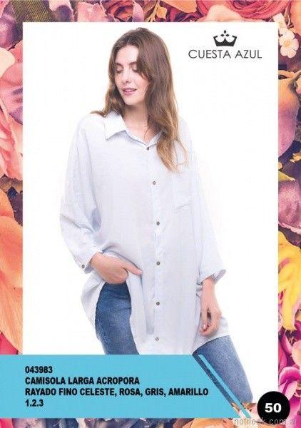 camisa larga holgada mujer Cuesta Azul primavera verano 2018