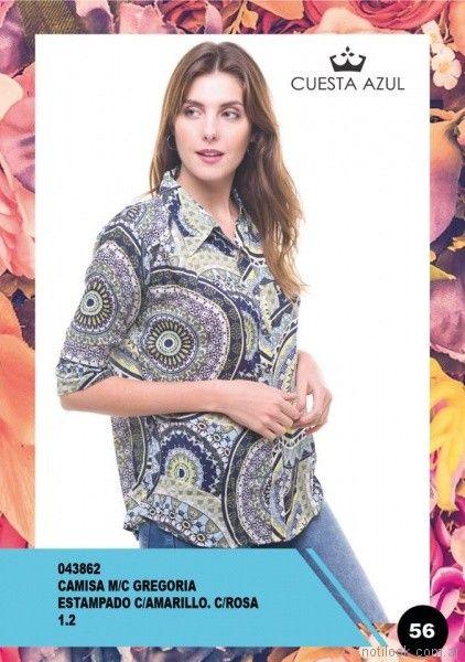 camisa mangas tres cuartos estampada mujer Cuesta Azul primavera verano 2018