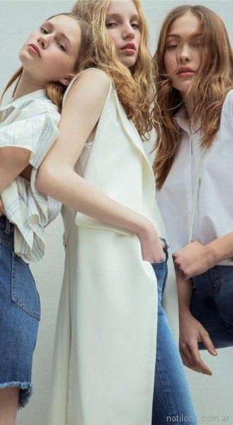 chaleco largo camisa y jeans juveniles Square Jeans verano 2018