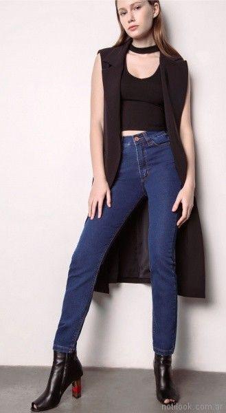 chaleco sastrero largo y jeans Square Jeans verano 2018