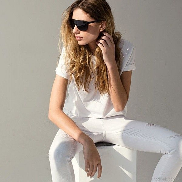 jeans blanco con roturas Taverniti jeans mujer primavera verano 2018