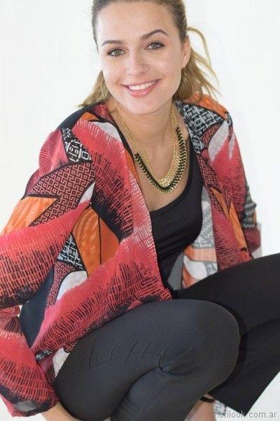 kimono seda fria estampada mujer talles reales Veramo verano 2018
