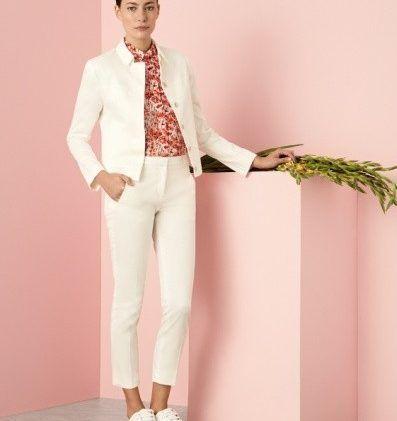 look con pantalon de vestir chupin blanco Cacharel primavera verano 2018