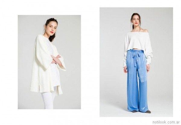 palazzo con lazo y kimono blanco Bled verano 2018