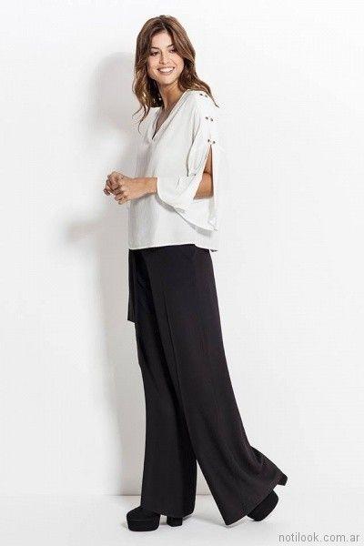 palazzo negro y blusa mangas largas con tajo Activity Pret a Porter primavera verano 2018