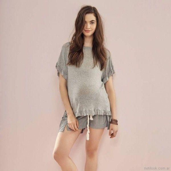 remera mangas cortas con volados y short para embarazadas Venga Madre primavera verano 2018