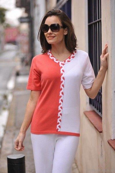remera mangas cortas tejida a rayas con detalle trenzado Di Madani Sweaters primavera verano 2017